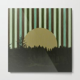 Forest in striped sky - green Metal Print