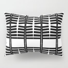 grid. abstract ribs. black and white pattern Pillow Sham
