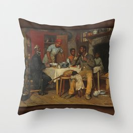 A Pastoral Visit, by Richard Norris Brooke, 1881 . An African American family Throw Pillow