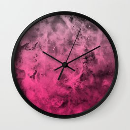 Liquid Space Nebula : Gray to Pink Ombre Gradient Wall Clock