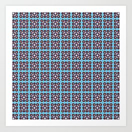 Abstract Teal and Brown Pattern Art Print