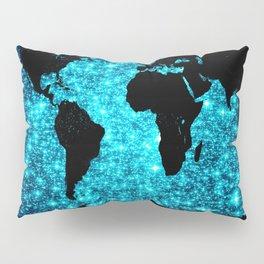 wOrld map Turquoise Sparkle Pillow Sham