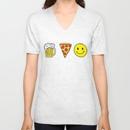 Beer Pizza Happiness Unisex V-Neck