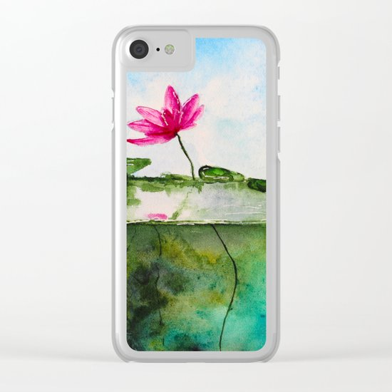 Lotus pond Clear iPhone Case