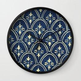 Blue and Yellow Wallpaper Wall Clock
