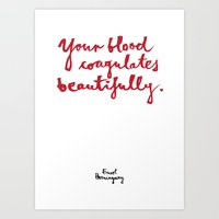 blood Art Prints featuring Blood-white by Kamoli Design