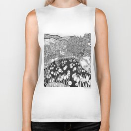 Zentangle Vermont Landscape Black and White Illustration Biker Tank
