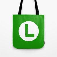 luigi Tote Bags featuring Nintendo Luigi by JAGraphic