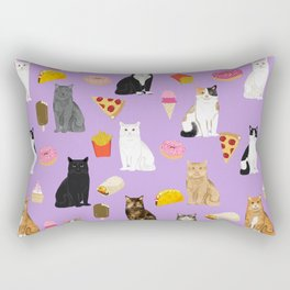Cat breeds junk food pizza french fries food with cats gifts ice cream donuts Rectangular Pillow