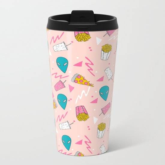 Alien outer space cute aliens french fries rad sodas pattern print pink Metal Travel Mug