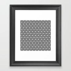 Black and White Diamond Ikat Framed Art Print