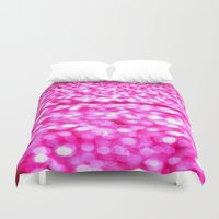 glitter Duvet Covers featuring Fuchsia Pink Glitter Sparkle by WhimsyRomance&Fun