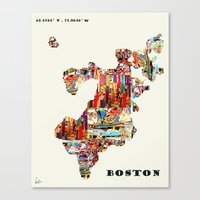 boston map Canvas Prints featuring boston map by bri.buckley