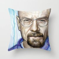 walter white Throw Pillows featuring Walter White Portrait by Olechka
