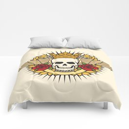 skull symbol tattoo design (crown, laurel wreath, wings, roses and banner) Comforters
