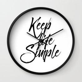 Keep life simple, Motivational poster, Printable poster, Wall art,Digital poster Wall Clock