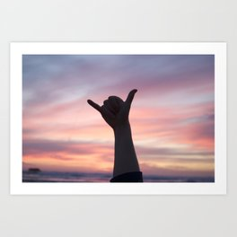 Stoked at sunset Art Print