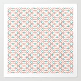 Geometric Peach and Turquoise Art Print