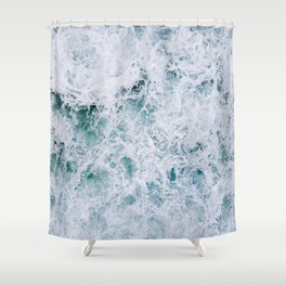 Waves in an abstract white and blue seascape Shower Curtain