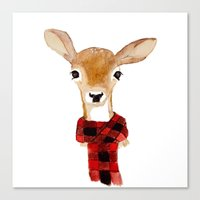 craftberrybush Canvas Prints featuring Fawn with buffalo check scarf by craftberrybush