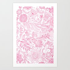 Doodle Flowers (Pink/White Edition) Art Print