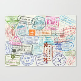 Vintage World Map with Passport Stamps Canvas Print
