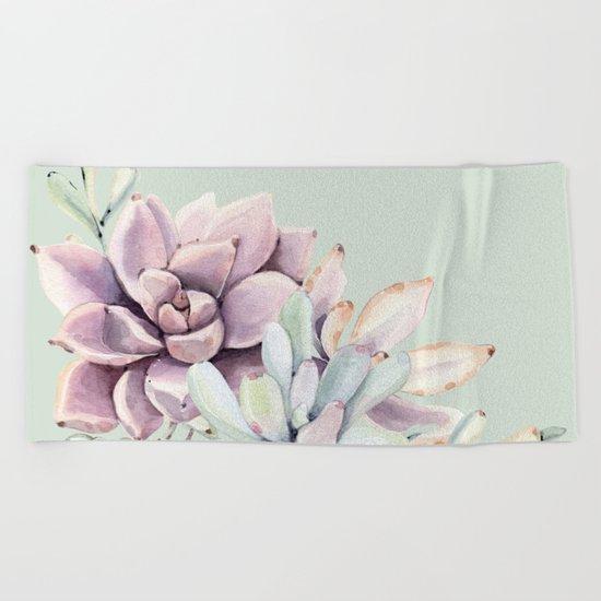 Beautiful Mint Succulents Beach Towel