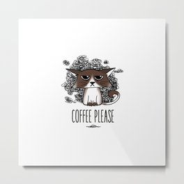 Grumpycat needs his coffee Metal Print