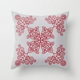 Folk Needlework Throw Pillow