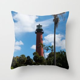 Jupiter Lighthouse Color Tropical / Coastal Landscape Photograph Throw Pillow