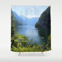 germany Shower Curtains featuring Germany, Malerblick, Koenigssee Lake II by UtArt