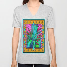 Tropical Foliage Western Style Abstract Unisex V-Neck