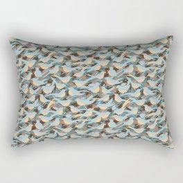 Birds' Morning Chatter | Teal Rectangular Pillow