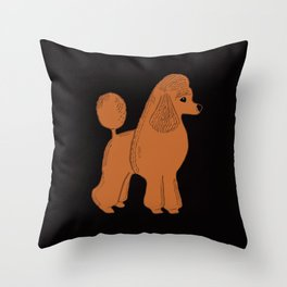 Apricot Poodle on Black Throw Pillow