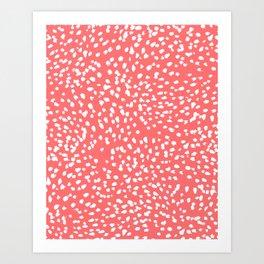 Claudia - abstract minimal coral dot polka dots painterly brushstrokes Art Print