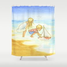 Children playing at the beach - Artwork that re-visits your favorite childhood memories Shower Curtain