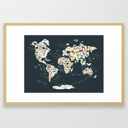 Cartoon animal world map for kids, back to schhool. Animals from all over the world Framed Art Print