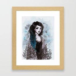 Day3 Inktober- Modern Witch Framed Art Print