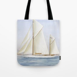 Vintage Racing Ketch Sailboat Illustration (1913) Tote Bag