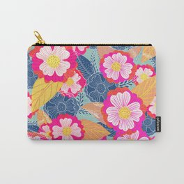 Floating flowers in pink and blue Carry-All Pouch