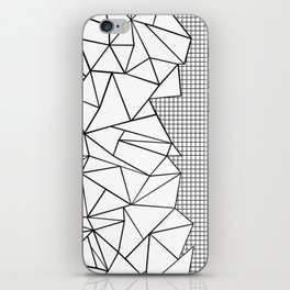 Abstraction Outline Grid on Side White iPhone Skin