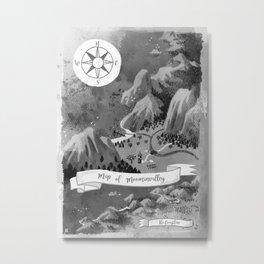 Moominvalley Map interpretation (Black & White) Metal Print