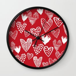 Herats red and white pattern minimal valentines day cute girly gifts hand drawn love patterns Wall Clock