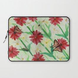Daisies Butterflies Katydid Red Green and White Laptop Sleeve
