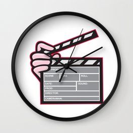 Movie Clapboard Hand Cartoon Wall Clock