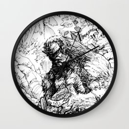 SASQUATCH EATING SALMON Wall Clock