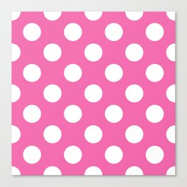 Geometric Candy Dot Circles - White on Strawberry Pink Canvas Print