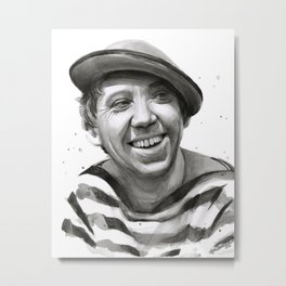 Yuriy Nikulin Portrait Watercolor | Юрий Никулин портрет Metal Print