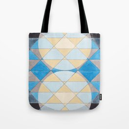 Triangle Pattern No. 14 Circles in Black, Blue and Yellow Tote Bag