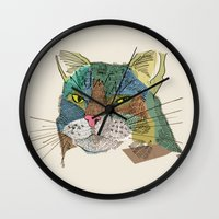 whisky Wall Clocks featuring Whisky Cat by Faye Finney